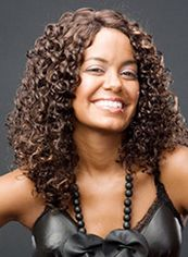 Medium Curly Brown No Bang African American Lace Wigs for Women 18
