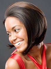 Gracefull Short Straight Brown No Bang African American Lace Wigs for