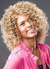 Brazil Medium Curly Blonde No Bang African American Lace Wigs for