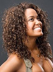 Trendy Medium Curly Brown No Bang African American Lace Wigs for Women