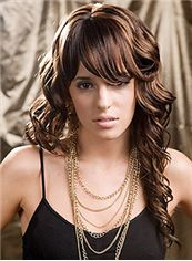 Cheap Long Wavy Brown Full Bang Cheap Real Hair Wigs 20 Inch