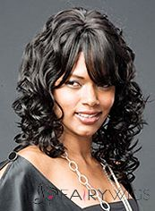 Grand Medium Wavy Black Side Bang African American Wigs for Women 16 Inch