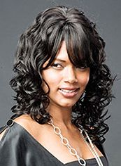 Grand Medium Wavy Black Side Bang African American Wigs for Women 16