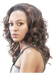 Outstanding Medium Wavy Brown No Bang African American Lace Wigs for
