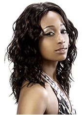 Delicate Medium Wavy Sepia No Bang African American Lace Wigs for Women 14 Inch