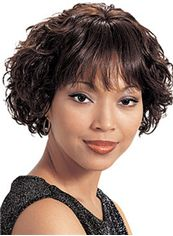 Chic Short Wavy Sepia Full Bang African American Wigs for Women 10