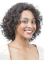 Sweet Short Wavy Brown No Bang African American Lace Wigs for Women