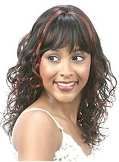 Wholesale Medium Wavy Brown Full Bang African American Wigs for Women