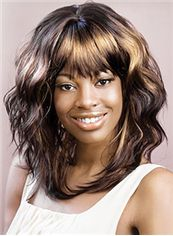 Wig Online Medium Wavy Brown Full Bang African American Wigs for