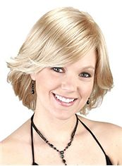 Perfect Short Wavy Blonde Side Bang African American Wigs for Women
