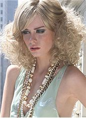 New Impressive Medium Wavy Blonde Cheap Real Hair Wigs 14 Inch