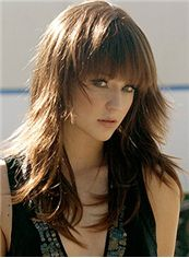 2015 Cool Medium Wavy Brown Full Bang Cheap Real Hair Wigs 18 Inch