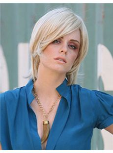 Classic Short Wavy Blonde Side Bang Full Lace Wigs 12 Inch