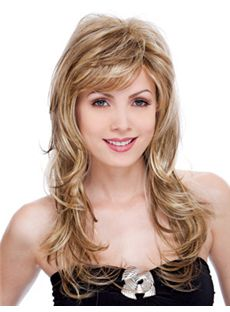 Sexy Long Wavy Blonde Side Bang Cheap Real Hair Wigs 20 Inch