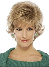 Simple Short Wavy Blonde Side Bang Cheap Real Hair Wigs
