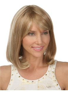 Cute Medium Wavy Brown Side Bang African American Capless Wigs for