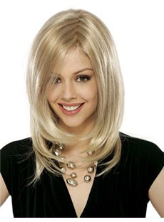 Hot Medium Wavy Blonde Side Bang Full Lace Wigs 16 Inch