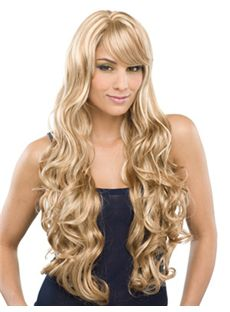 Custom Long Wavy Blonde Side Bang African American Wigs for Women 26