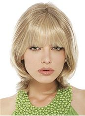 Fashionable Medium Wavy Blonde Full Bang Cheap Real Hair Wigs 14 Inch