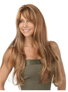 Custom Super Charming Long Wavy Blonde Cheap Real Hair Wigs 24 Inch