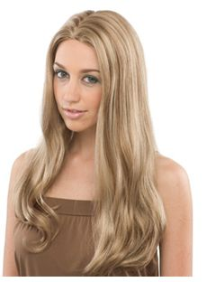 Trendy Long Wavy Blonde No Bang Full Lace Wigs 20 Inch