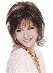 Gorgeous Short Wavy Brown Side Bang Full Lace Wigs 12 Inch