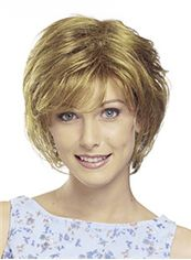Cheap Short Wavy Blonde Side Bang African American Lace Wigs for