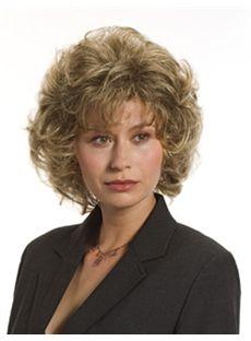 Glamorous Short Wavy Brown Side Bang Cheap Real Hair Wigs 12 Inch