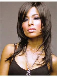 Modern Medium Straight Brown No Bang African American Lace Wigs for