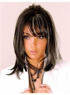 Stunning Medium Straight Sepia Side Bang African American Wigs for