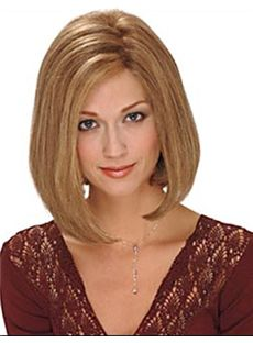Lustrous Short Straight Blonde No Bang Human Hair Lace Front Wigs 12