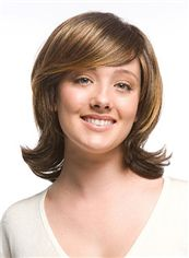 European Style Short Wavy Brown Side Bang Cheap Real Hair Wigs 12 Inch