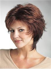 Affordable Short Wavy Brown Side Bang Full Lace Wigs 12 Inch