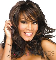 Afro American Medium Wavy Brown Side Bang African American Wigs for Women 16 Inch