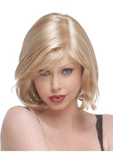 Dream Short Wavy Blonde Side Bang African American Lace Wigs for
