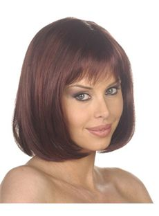 Personalized Short Wavy Brown Side Bang African American Wigs for