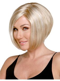 Lovely Short Straight Blonde Side Bang African American Lace Wigs for