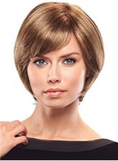 Popurlar Short Straight Brown Side Bang African American Wigs for