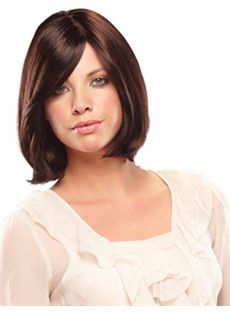 Trendy Short Wavy Brown Side Bang African American Lace Wigs for