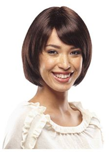 Exquisite Short Straight Sepia Side Bang African American Wigs for