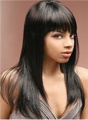 Attractive Long Straight Black Full Bang African American Wigs for