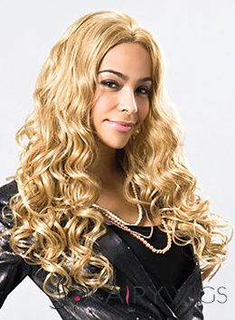 Glamorous Long Wavy Blonde No Bang African American Lace Wigs for Women 22 Inch
