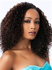 Vogue Wig Medium Curly Black No Bang African American Lace Wigs for