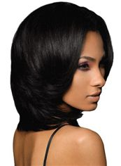 Quality Wigs Medium Wavy Black No Bang African American Lace Wigs for Women 14 Inch