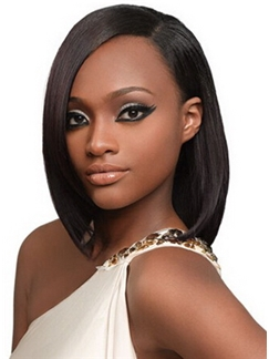 Lastest Trend Medium Straight Brown No Bang African American Lace Wigs for Women 14 Inch