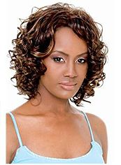 New Impressive Short Wavy Brown No Bang African American Lace Wigs