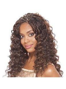 Shinning Long Wavy Brown No Bang African American Lace Wigs for Women