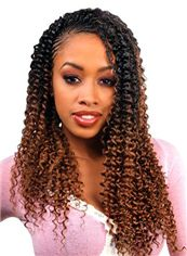 Elegant Long Curly Brown No Bang African American Lace Wigs for Women 20 Inch