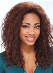 Sketchy Medium Wavy Brown No Bang African American Lace Wigs for