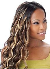 Top Quality Long Wavy Brown No Bang African American Lace Wigs for